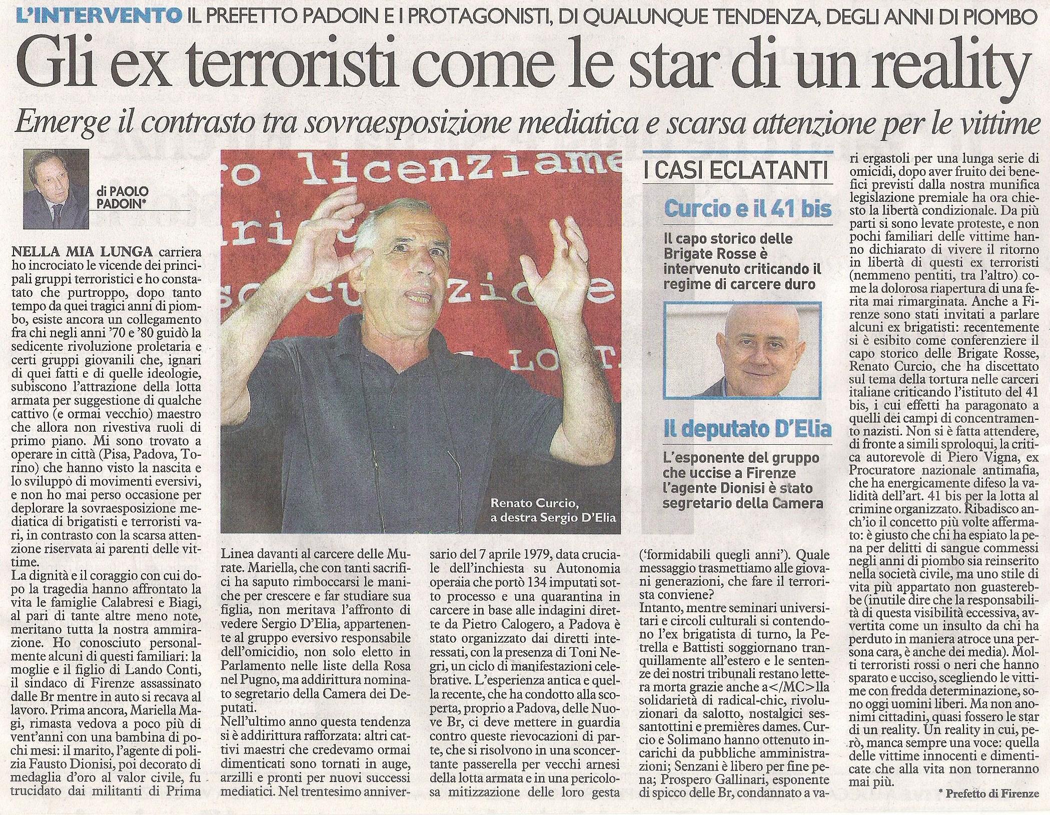 La Nazione articolo Prefetto Padoin 31 ottobre 2010