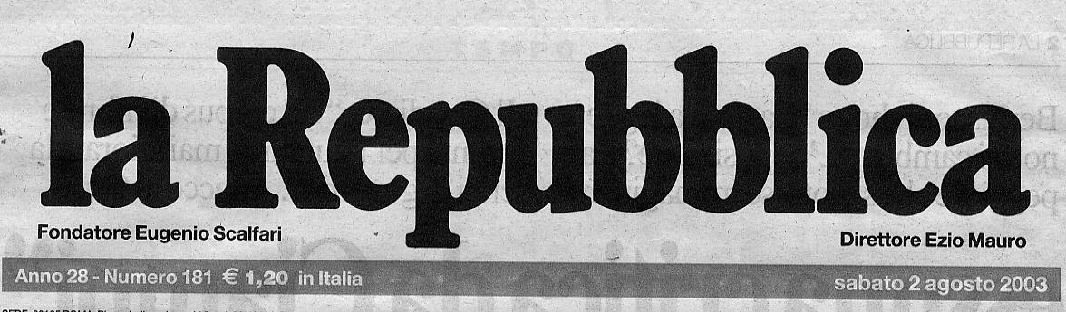 REPUBBLICA TESTATA 2 AGOSTO 2003