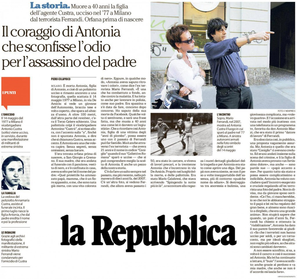 La Repubblica morte Antonia Custra